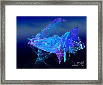 One Fish Blue Fish Framed Print by Andee Design