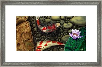 Framed Print featuring the painting One Fish Two Fish by Dan Menta