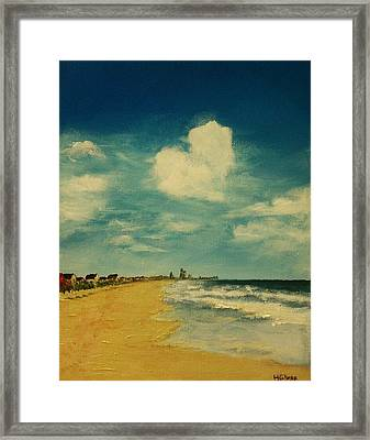 One Heart Over The Beach Framed Print by Heather  Gillmer