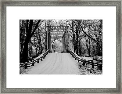 One Lane Bridge In Snow Framed Print
