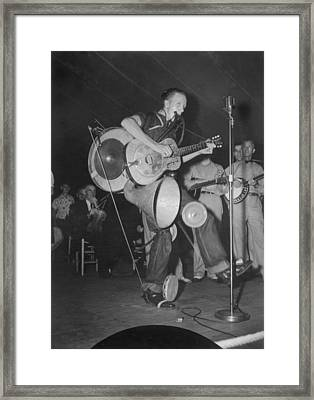One-man Band At The Mountain Music Framed Print by Everett