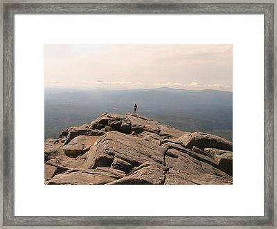 One Man Standing On Top Of The World Framed Print by Rachel Snell