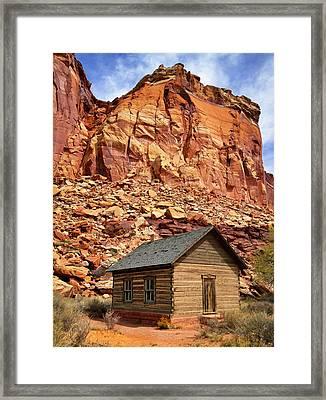 One Room Log School House, Fruita Framed Print by Royce Bair