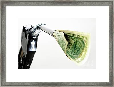 One Us Banknote Coming Out Petrol Pump Nozzle Framed Print by Sami Sarkis