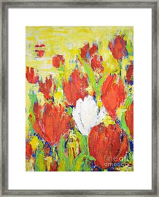 One White Tulip Framed Print
