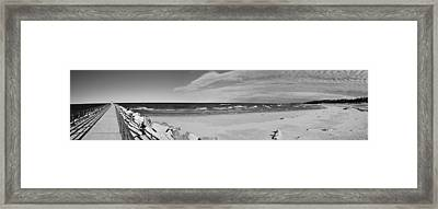 Onekama Pier And Beach In Black And White Framed Print by Twenty Two North Photography