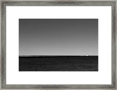 Onekama Pier In Black And White Framed Print by Twenty Two North Photography