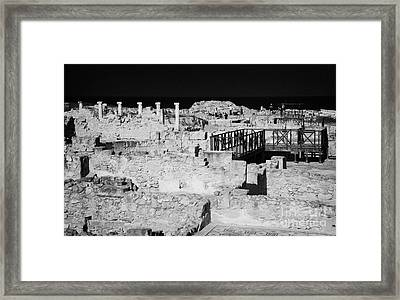Ongoing Archeological Dig At The House Of Dionysos Roman Villa At Paphos Archeological Park Cyprus Framed Print by Joe Fox