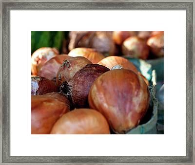 Onions At A Roadside Market Framed Print by Toni Hopper