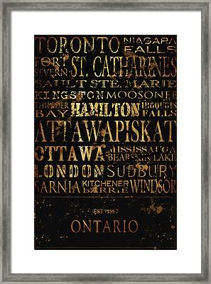 Ontario Typography Framed Print by Tanya Harrison