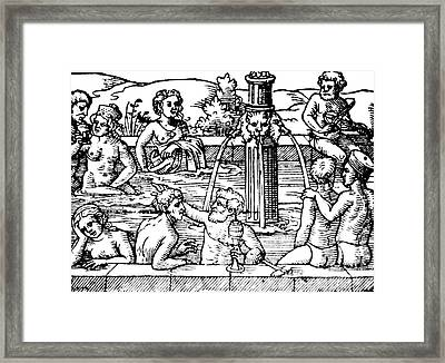 Open-air Bath Balneology 1571 Framed Print by Science Source
