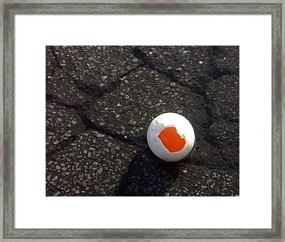 Open Broken Egg - View From Above Framed Print by Matthias Hauser