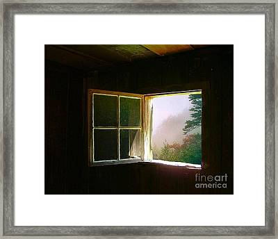 Open Cabin Window In Spring Framed Print by Julie Dant