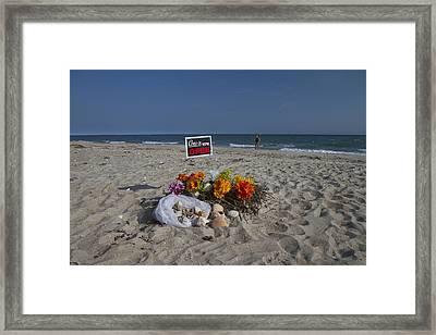 Open For Beach Business Framed Print by Betsy Knapp