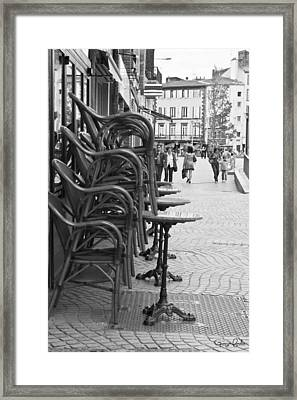 Open For Lunch At 12 Framed Print