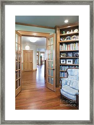 Open French Doors And Home Library Framed Print