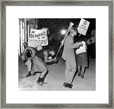 Open Housing Demonstrators Attacked Framed Print by Everett