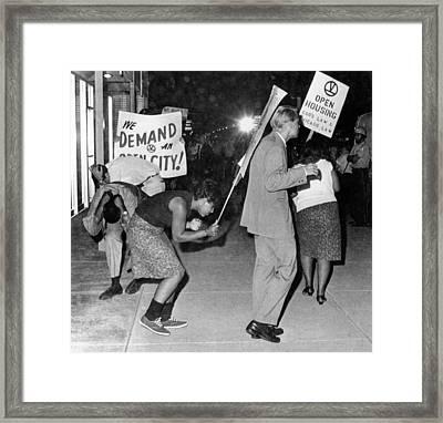 Open Housing Demonstrators Attacked Framed Print by Everett