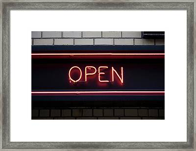 Open Neon Sign Framed Print by Frederick Bass