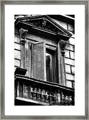 Open Shutter In Rome Framed Print by John Rizzuto