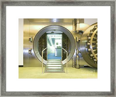 Open Vault At A Bank Framed Print by Adam Crowley