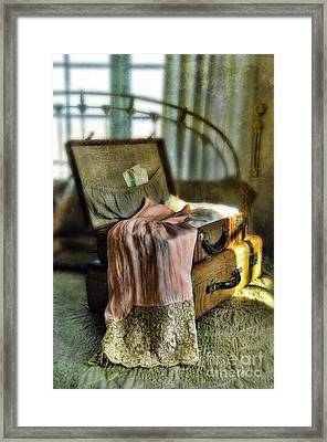 Open Vintage Suitcase With Letter And Lace Framed Print