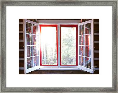 Open Window In Cottage Framed Print