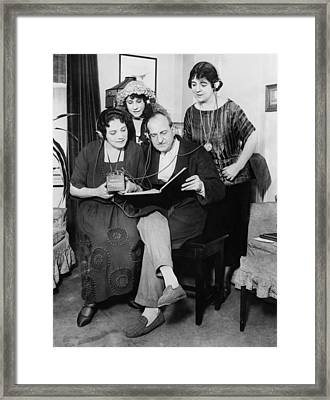Opera Stars Read Score Of Tosca While Framed Print by Everett