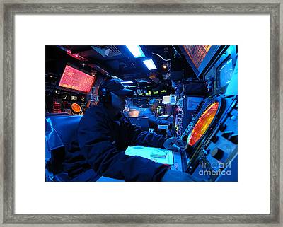 Operations Specialist Stands Watch Framed Print