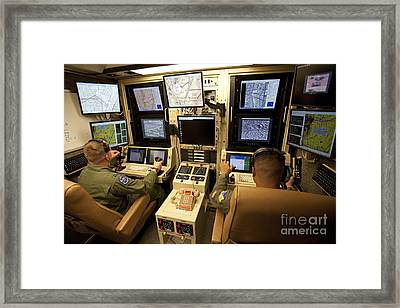 Operators Control Uavs From A Ground Framed Print by HIGH-G Productions