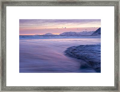 Opposing Waves At Sunset Framed Print by Tim Grams