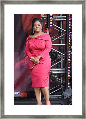 Oprah Winfrey At Talk Show Appearance Framed Print by Everett
