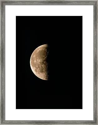 Optical Image Of A Waning Half Moon Framed Print by John Sanford