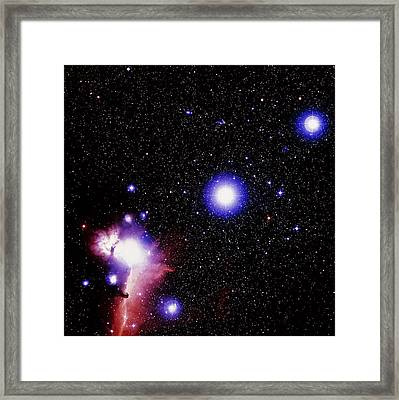 Optical Image Of The Stars Of Orion's Belt Framed Print by Celestial Image Co.