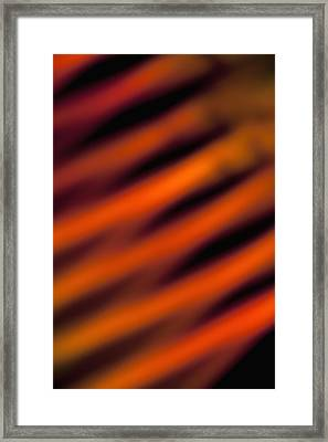 Orange And Red Slanted Lines Created By A Light Effect, Close-up, Defocused Framed Print by Halfdark