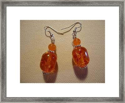 Orange Ball Drop Earrings Framed Print by Jenna Green