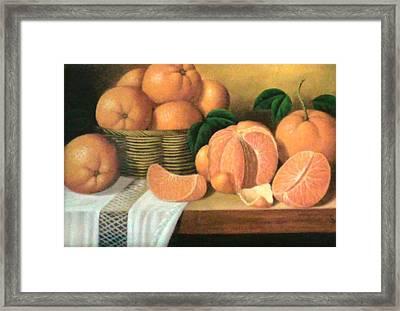 Orange Basket Framed Print by Unique Consignment