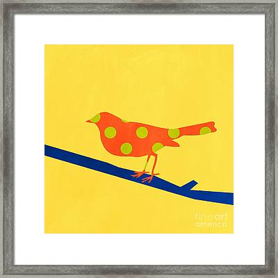 Orange Bird Framed Print by Linda Woods
