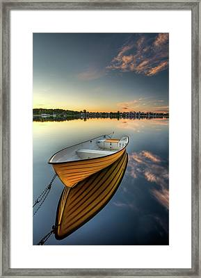 Orange Boat With Strong Reflection Framed Print