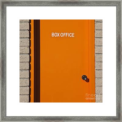 Orange Box Office Door Framed Print