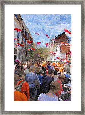 Orange Day Party Framed Print by Martin  Fry