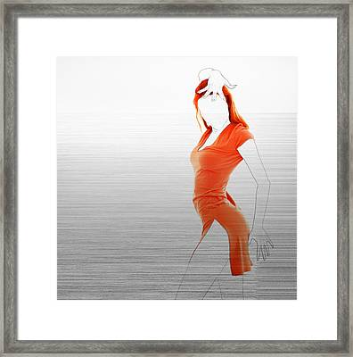 Orange Dress Framed Print by Naxart Studio