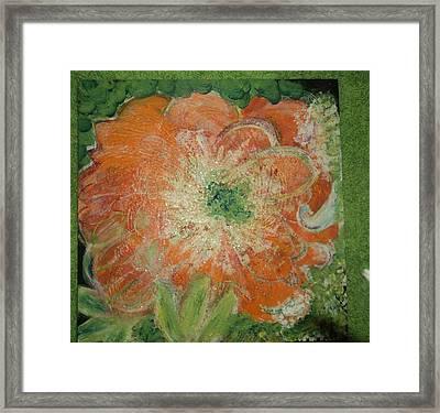 Orange Floral Fantasy Framed Print by Anne-Elizabeth Whiteway