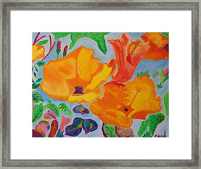 Framed Print featuring the painting Orange Flowers Reaching For The Sun by Meryl Goudey