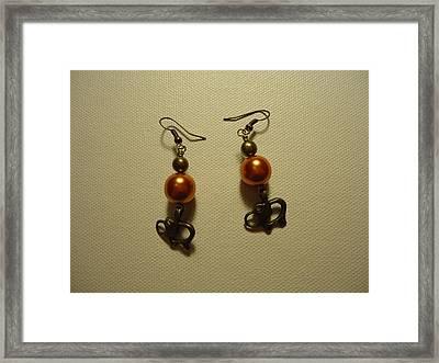 Orange Gold Elephant Earrings Framed Print