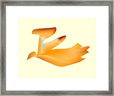 Orange Jetpack Penguin Framed Print