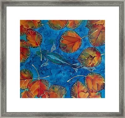 Orange Leaves And Fish Framed Print by Carolyn Doe