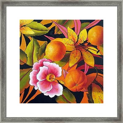Orange Lily And Hibiscus Framed Print by Marina Petro