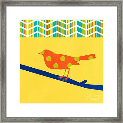 Orange Polka Dot Bird Framed Print by Linda Woods