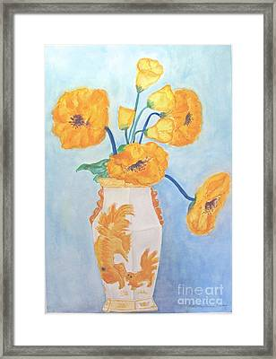Orange Poppies In Water Color Framed Print